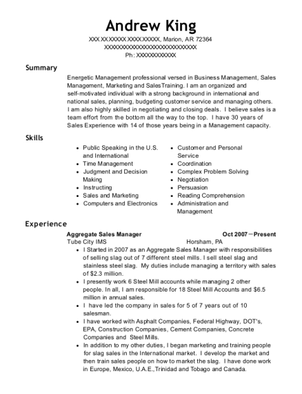 Aggregate Sales Manager resume format Arkansas