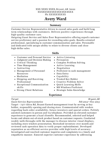 Guest Service Representative resume template Arkansas