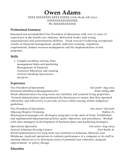 Vice President of Operations resume template Arkansas