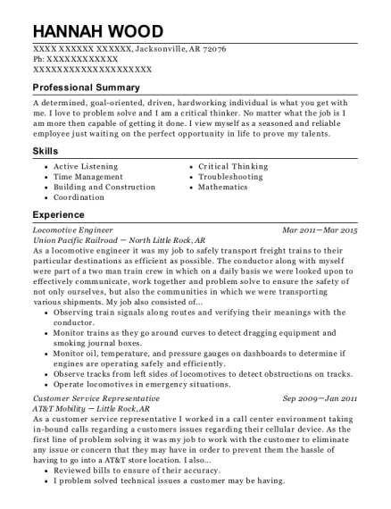 Locomotive Engineer resume format Arkansas