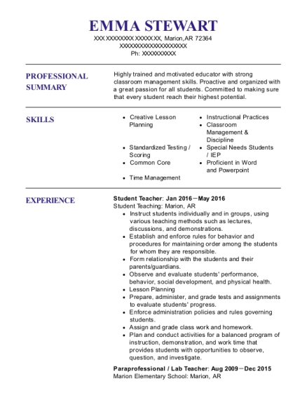 Student Teacher resume example Arkansas