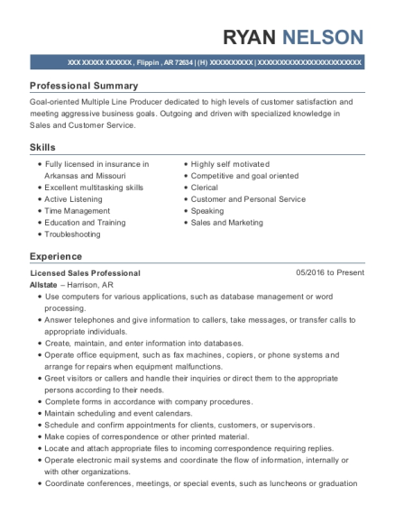 Licensed Sales Professional resume template Arkansas