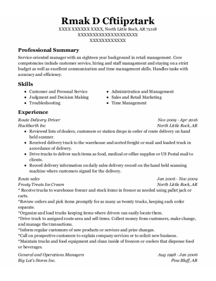 Route Delivery Driver resume template Arkansas