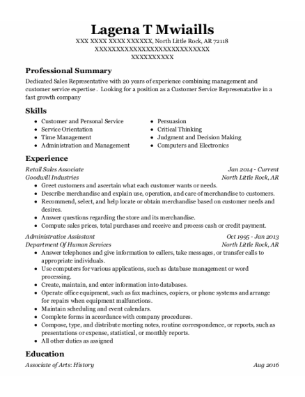 Retail Sales Associate resume sample Arkansas