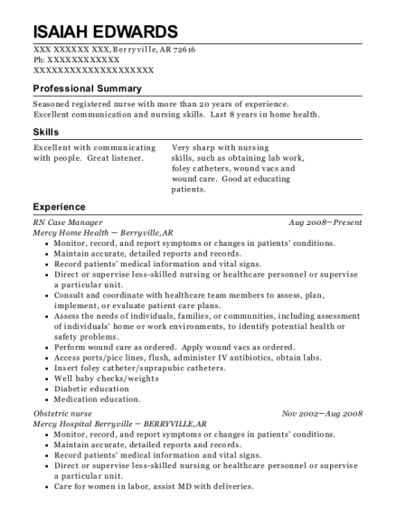 RN Case Manager resume template Arkansas