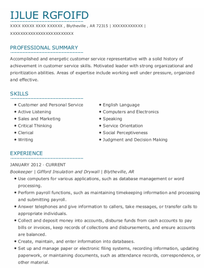 Bookeeper resume example Arkansas