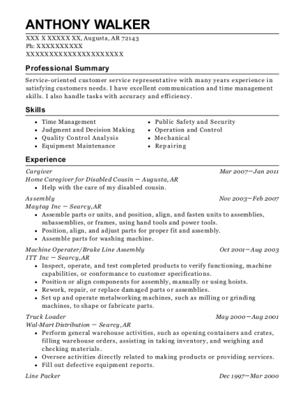 Cargiver resume example Arkansas