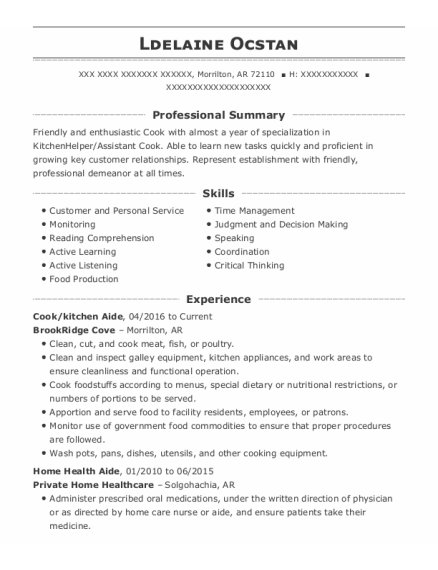 Cook resume example Arkansas