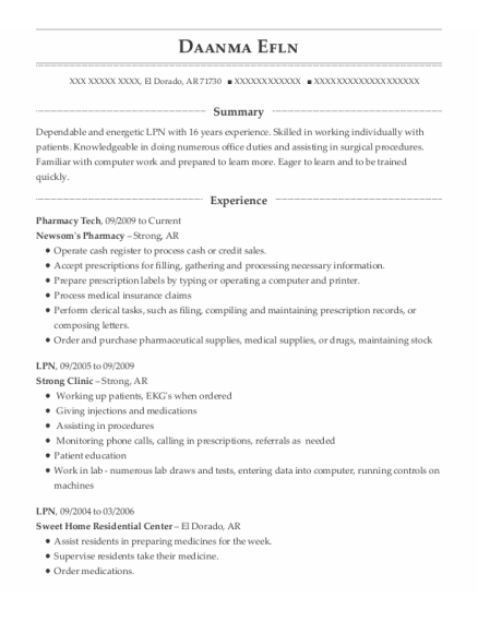 Pharmacy Tech resume format Arkansas