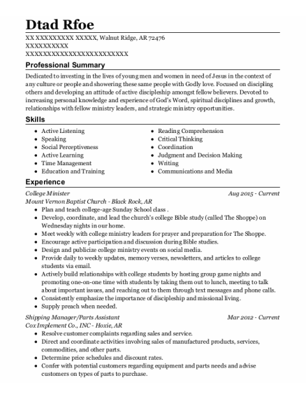 Shipping Manager resume example Arkansas