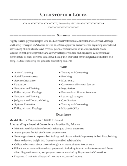 licensed mental health counselor resume examples