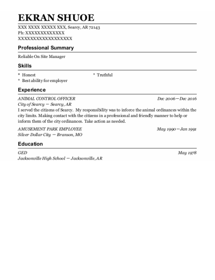 Animal Control Officer resume format Arkansas