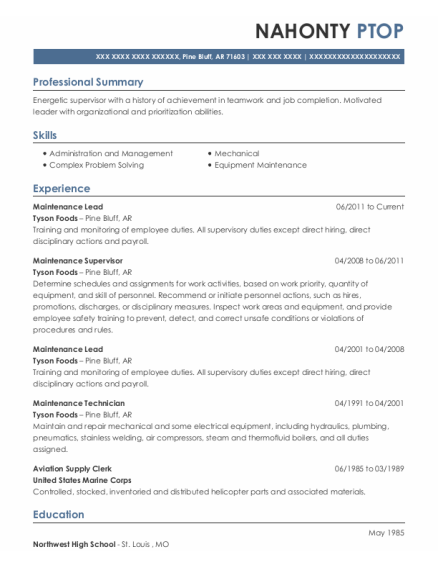 Maintenance Lead resume template Arkansas