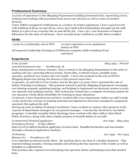 Crew Leader resume sample Arkansas