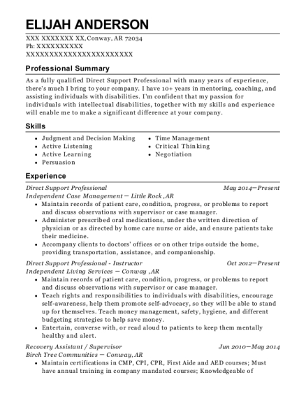 Direct Support Professional resume example Arkansas