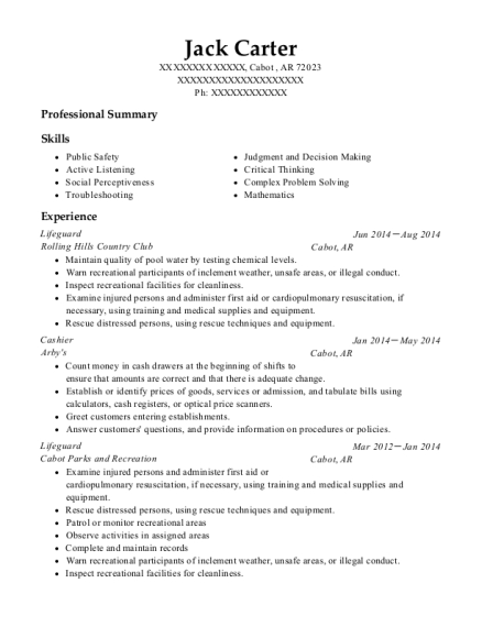 Lifeguard resume format Arkansas