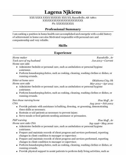 Home Care Aide resume template Arkansas