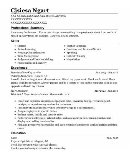 Key Carrier resume example Arkansas