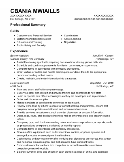 Escrow Assistant resume format Arkansas
