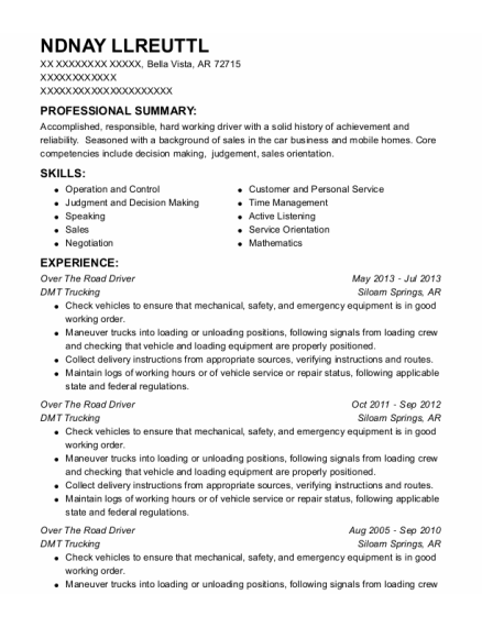 Over The Road Driver resume format Arkansas