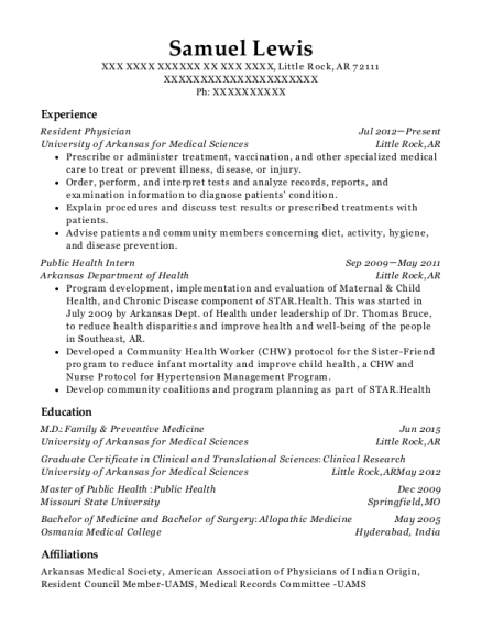 Resident Physician resume example Arkansas