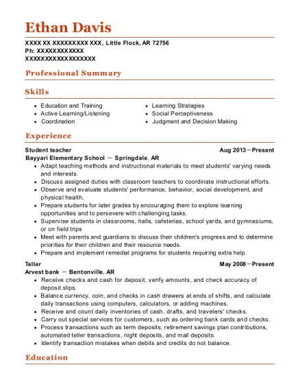 Student teacher resume format Arkansas