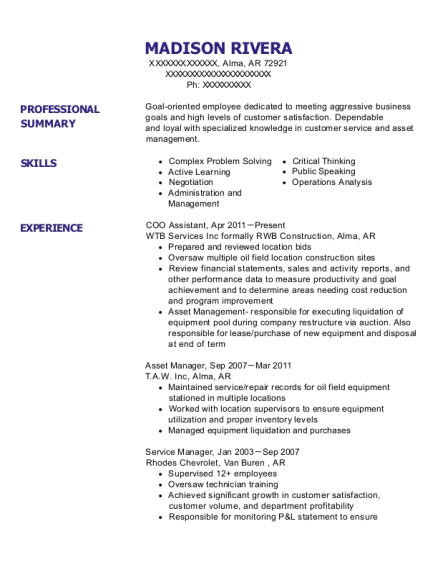COO Assistant resume template Arkansas