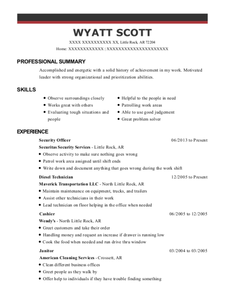 Security Officer resume example Arkansas