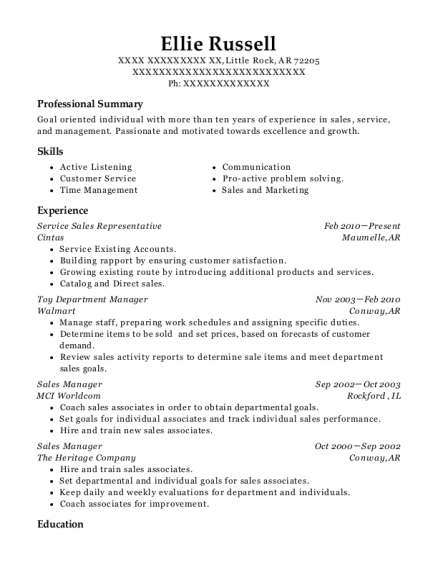 Cintas First Aid And Safety Service Sales Representative Resume