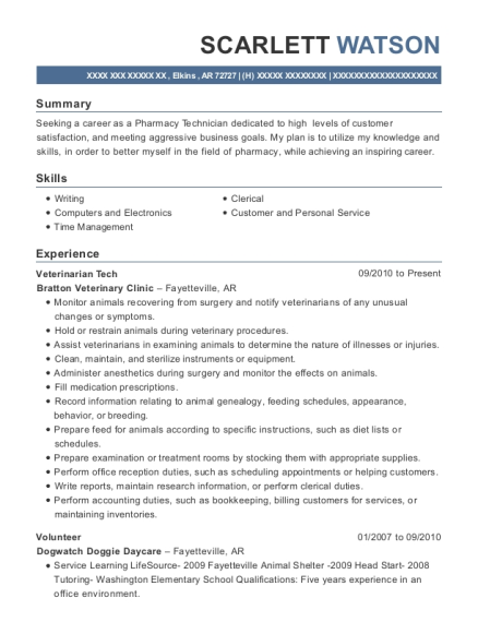 Veterinarian Tech resume example Arkansas