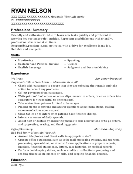 Waitress resume template Arkansas