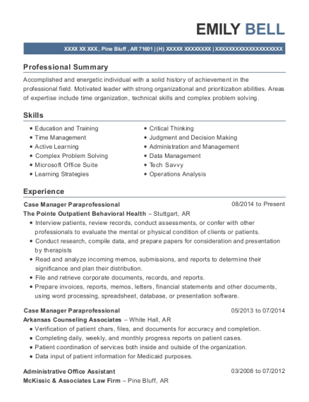 Case Manager Paraprofessional resume example Arkansas