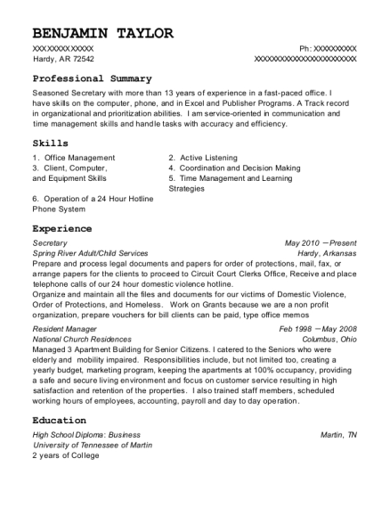 Secretary resume format Arkansas