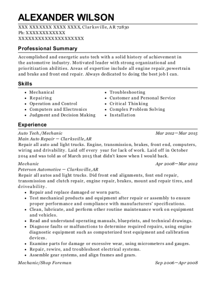 Auto Tech resume sample Arkansas