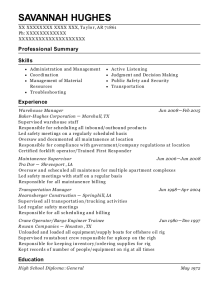 Warehouse Manager resume example Arkansas