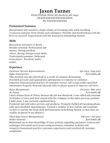 Customer Service Representative resume example Arkansas