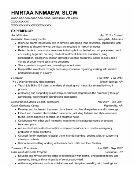 Social Worker resume template Arkansas
