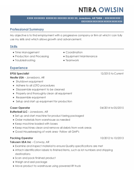 Production Worker resume example Arkansas