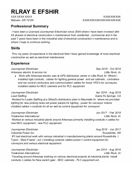 JOURNEYMAN ELECTRICIAN resume sample Arkansas