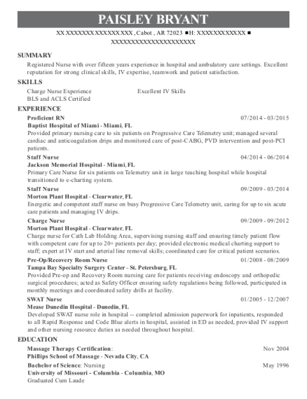 Proficient RN resume sample Arkansas