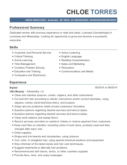Stylist resume sample Arkansas