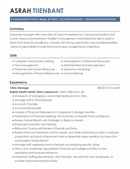 Clinic Manager resume template Arkansas