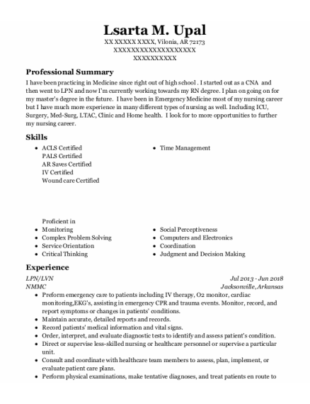 LPN resume example Arkansas