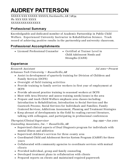 Research Assistant resume template Arkansas