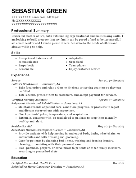 Server resume example Arkansas