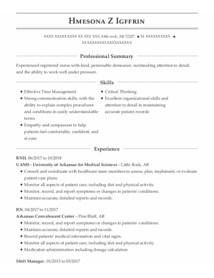 Shift Manager resume example Arkansas