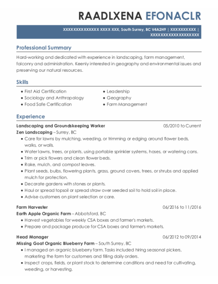 Landscaping and Groundskeeping Worker resume example BC