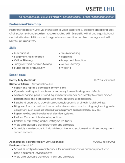 Heavy Duty Mechanic resume template BC
