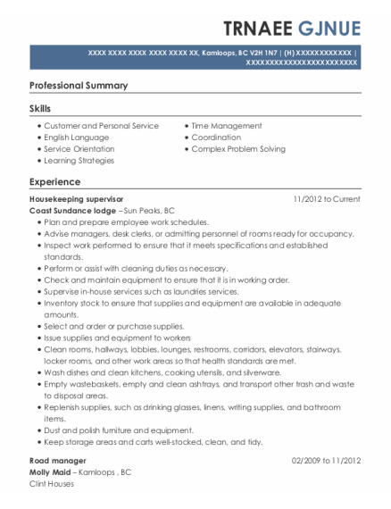 Painters Assistant resume sample BC