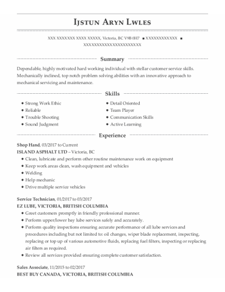 Shop Hand resume template BC